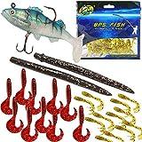 BPS Set Pesca Cebo Blando Señuelos Pesca Suave con Pesca Gancho Gusanos de Mar OZL-06212 * 1