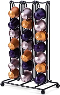 PENGKE Double Sided Display Coffee Capsules Storage Holder Organizer,Black Coffee Pod Rack Can Hold 42 Capsules,Compatible with Nespresso capsules and K Cup