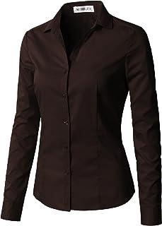 CLOVERY Women`s Long Sleeve Slim Fit Button Down Shirt