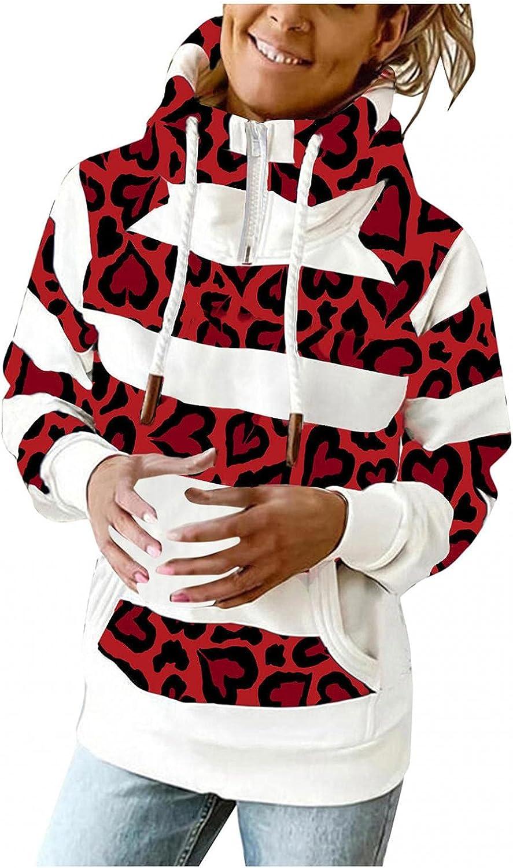 COMVALUE Hoodies for Women,Women Zipper Leopard Printed Casual Long Sleeve Lightweight Striped Pullover Sweatshirts