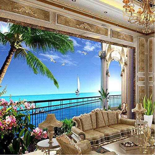 Benutzerdefinierte 3D HD Meerblick Zimmer Wohnzimmer Sofa Hintergrund Wandbild Tapeten Meer Segelboot Foto Tapete an der Wand 3D-300cmx210cm