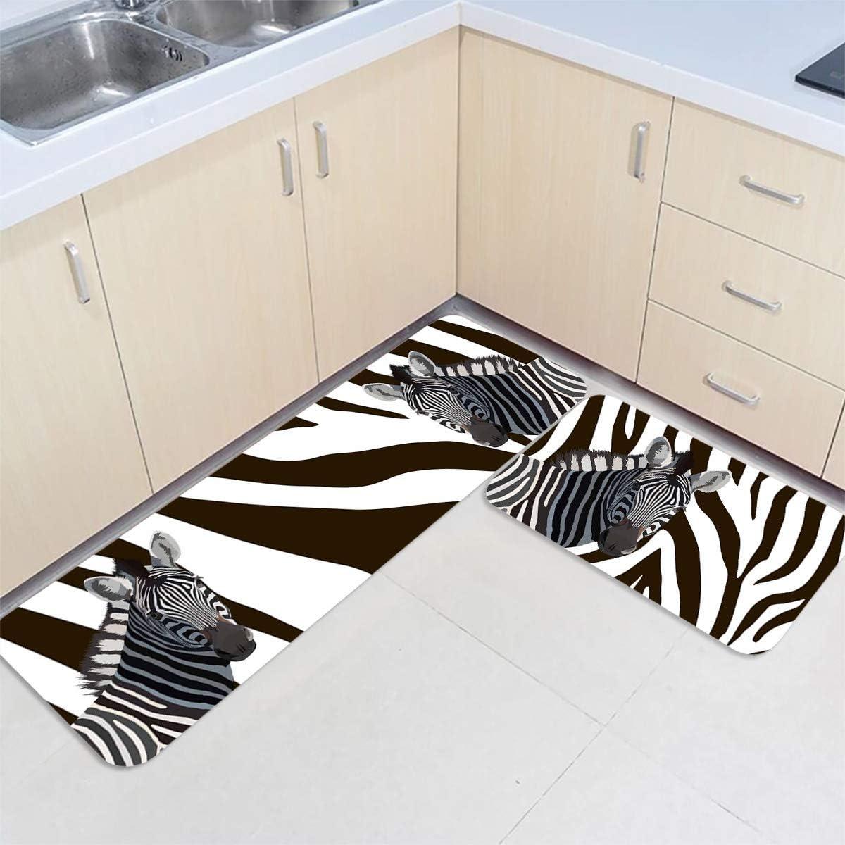 Gsypo Kitchen Rugs Set Free shipping New 2 Animal Pieces White New arrival Black Zebra