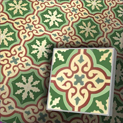 Zementfliesen Iraquia creme grün rot Muster Steinöl