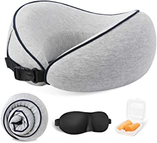 Almohada de cuello de viaje 100% espuma viscoelástica para el cuello, cómoda y transpirable, lavable a máquina, kit de viaje en avión con máscaras 3D, tapones para los oídos