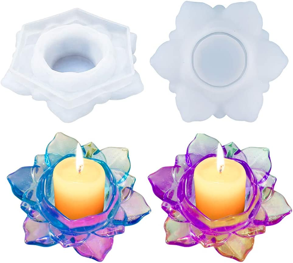 2PCS Lotus Candles Holders Epoxy Resin Silico Mold Large Jacksonville Mall discharge sale Flower Shape