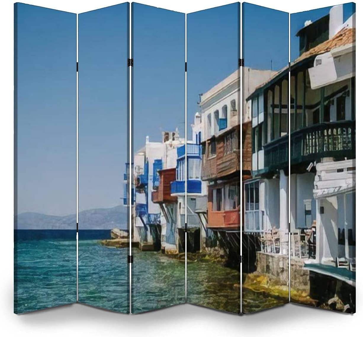 6 Panel Wall Divider Mykonos Greece Colorful Recommendation Super sale Old The of Streets