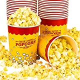 Stock Your Home 32 Oz Popcorn Bucket (25 Count) Paper Popcorn Cups for Movie Theater Concsession Carnival Party - Yellow and Red Reusable Popcorn Containers