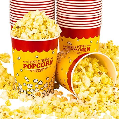 Stock Your Home - Cubo para palomitas de maíz (25 unidades) para cine, concesión, fiesta de carnaval, color amarillo y rojo