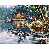 xkjymx Pintura al óleo Bordado Junto al Lago Cabina y Pato Pintura al óleo Pintura al óleo Completa Pintura Artesanal