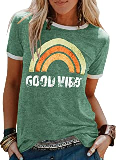 Womens Letter Printed T-Shirts Graphic Desert Vibes Short Sleeve Casual Summer Tops Blouses