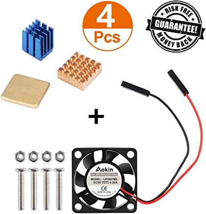6PCS Copper Heat Sink Cooling Heatsinks with Thermal Conductive Adhesive Tape for Raspberry Pi 3//2 Model B /& Raspberry Pi 3B+ GeeekPi Raspberry Pi Heatsink Kit