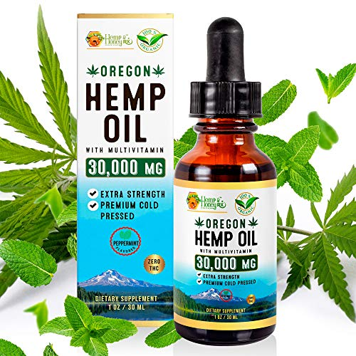 Hemp & Honey RX- Organic Hemp Oil Extract- 30,000MG-Supports Pain, Stress, Sleep, Anxiety, Joint Relief- Rich in Omega 3, 6 & 9-Vegan-Made in USA-Peppermint Flavor
