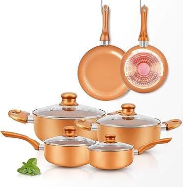 FRUITEAM 10pcs Cookware Set Ceramic Nonstick Soup Pot/Milk Pot/Frying Pans Set | Copper Aluminum Pan with Lid, Induction Gas