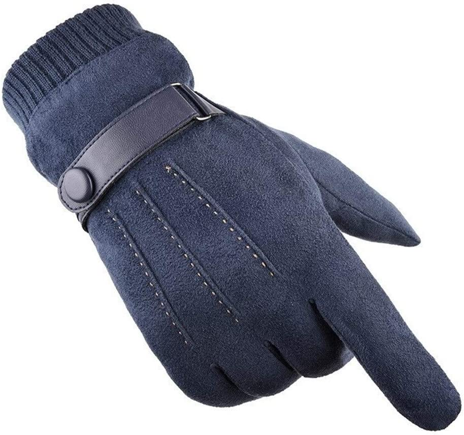 FASGION One Pair of Solid Color Outdoor Warm Riding Windproof Men's Thick All-Finger Gloves Warm Suede Velvet Gloves Ski Accessories Hot (Color : Blue, Gloves Size : One Size)