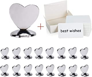 Aliyaduo 16 PCS Table Number Holders Exquisite Heart-Shaped Metal Holder 100 PCS Blank Kraft Paper Business Card Message Card Perfect for Restaurants Weddings Banquets & Party