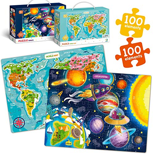 100 Piece World Map and Solar System Puzzles for Kids Ages 4 5 6 7 8 Years, Learning Globe Animals Galaxy Preschool Floor Jigsaw Puzzle Game for Toddlers, Educational Big Puzzles for Kids Ages 3-5