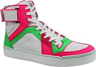 High top Green/Pink/White Neon Leather Sneaker with Strap 386738 5663