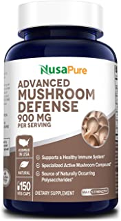 Advanced Mushroom Defense 900mg 150 Veggie Caps (Non-GMO & Gluten Free) - Deep Immune System Support - Reishi, Maitake, Shiitake, Astragalus, Dandelion & Beta Glucan