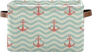 PUXUQU Panier de rangement pliable avec poignées - Motif ancre de mer - Panier de rangement pour placard, étagères, jouet...