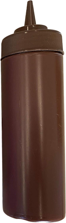 BPA Free Food Prep 12 oz Plastic Condiment Squeeze Bottle for Hot Sauces Condiments Dressings (brown)