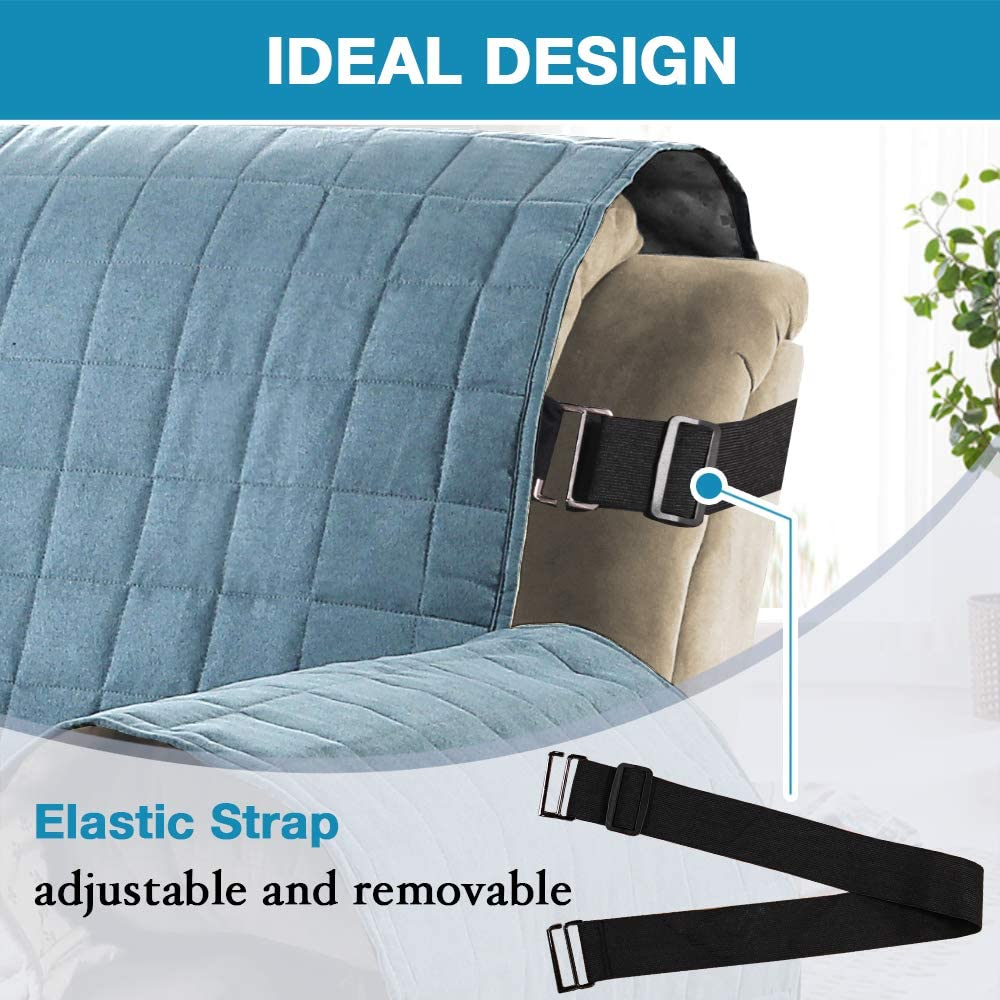Ivory 100/% Waterproof Recliner Covers Velvet Slip Resistant Recliner Sofa Slipcover Seat Width Up to 28 Couch Furniture Protector with 2 Elastic Straps with Non Slip Backing