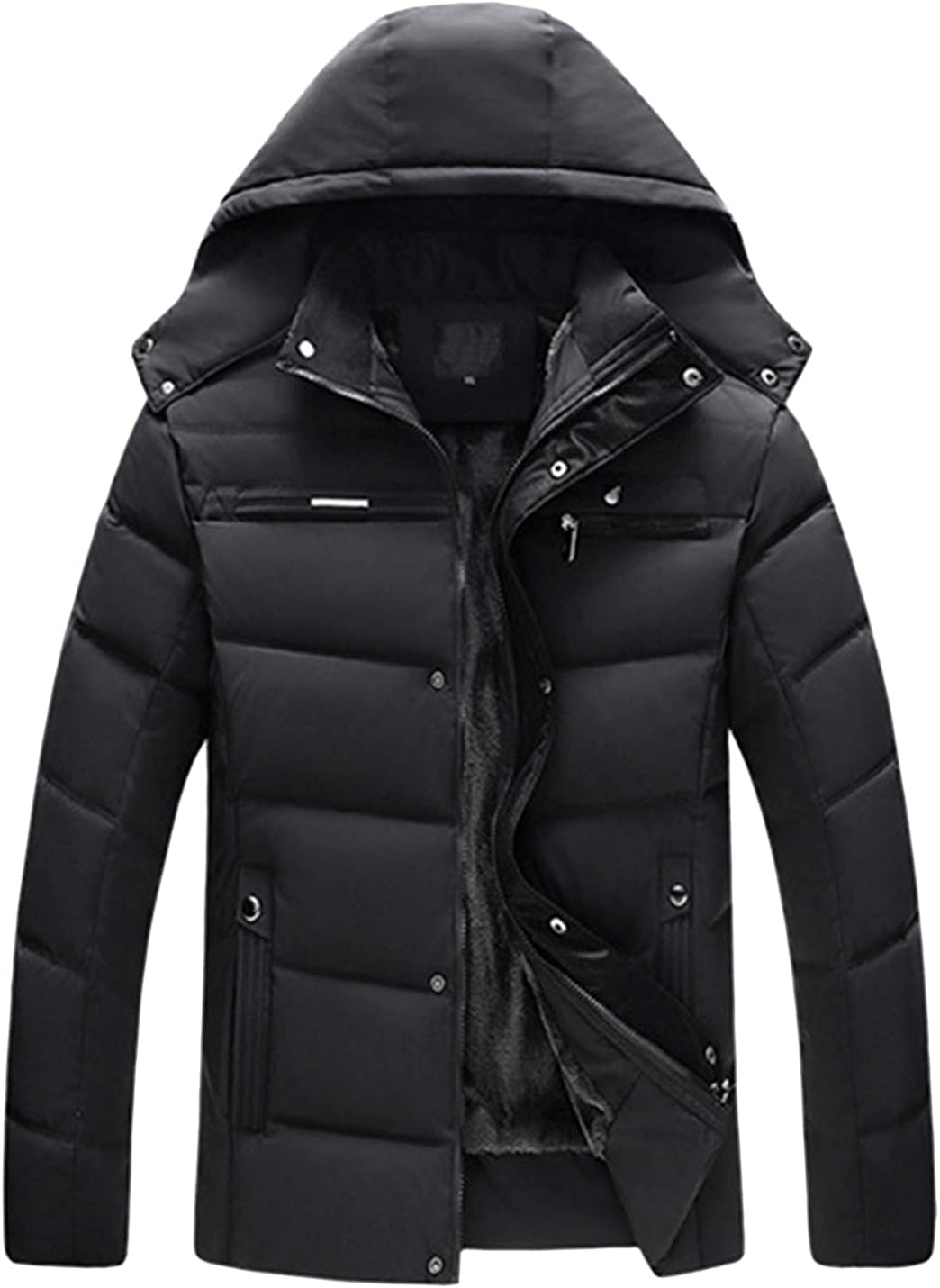 Yeokou Men's Casual Fleece Lined Cotton Padded Quilted Hooded Jacket Coat