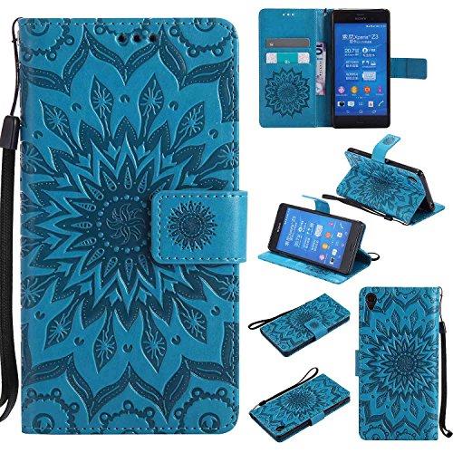 pinlu® PU Leder Tasche Etui Schutzhülle für Sony Xperia Z3+ (5,2 Zoll) Lederhülle Schale Flip Cover Tasche mit Standfunktion Sonnenblume Muster Hülle (Blau)
