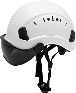 LOHASWORK Safety Hard Hat - Adjustable ABS Climbing Helmet - 6-Point Suspension, Perfect for Riding, Climbing and Construction (Black Visor)
