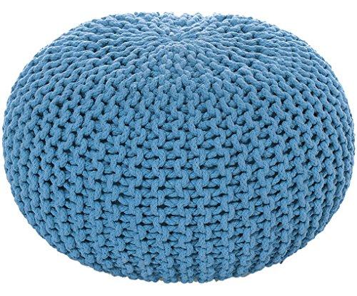 MAB Sitzpuff Sitzhocker Bodenkissen ver. Farben Ø 50 cm, 55 cm oder 80 cm Baumwolle (himmelblau)