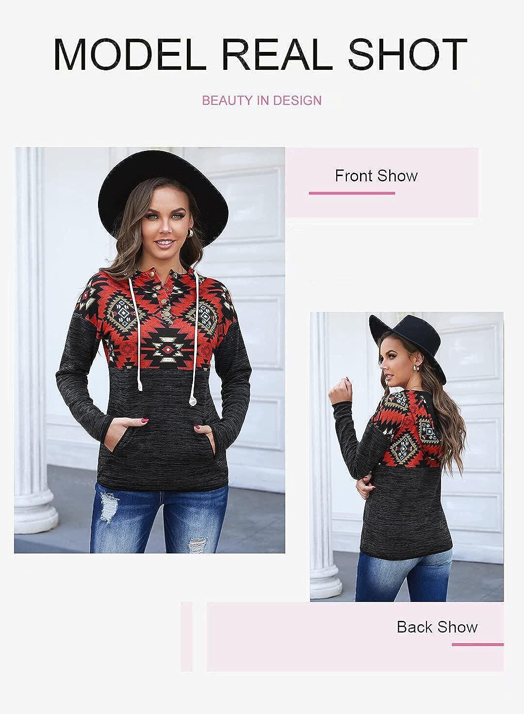 Aleumdr Women's Lightweight Geometric Print Hoodies Casual Loose Long Sleeve Drawstring Pullover Sweatshirts with Pockets