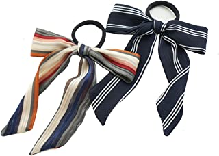 2Pcs Elastic Hair Scrunchies,Latest Model French Striped Big Bowknot Ropes Small Scarf Hand-held Packaging Ribbon Multipurpose 2 in 1 Ponytail Holder Hairband Bow Loop for Women & Girls (A)