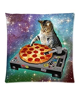 Moslion Food Funny Creative Hipster DJ Cat Pizza Cat Galaxy Pizza Cat Design Zippered Polyester Pillow Case Two Side