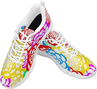 Zenzzle Women's Breathable Light Weight Lace Up Sneakers Bright Floral Pattern Running Shoes
