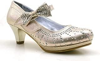 Taşlı Fiyonklu Altın Renk Topuklu Kız Çocuk Abiye Ayakkabı