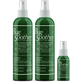 Bug Soother Spray (2, 8 oz) - Natural Insect, Gnat and Mosquito Repellent & Deterrent - DEET Free - Safe Bug Spray for Adults, Kids, Pets, Environment - Made in USA - Includes 1 oz. Travel Size