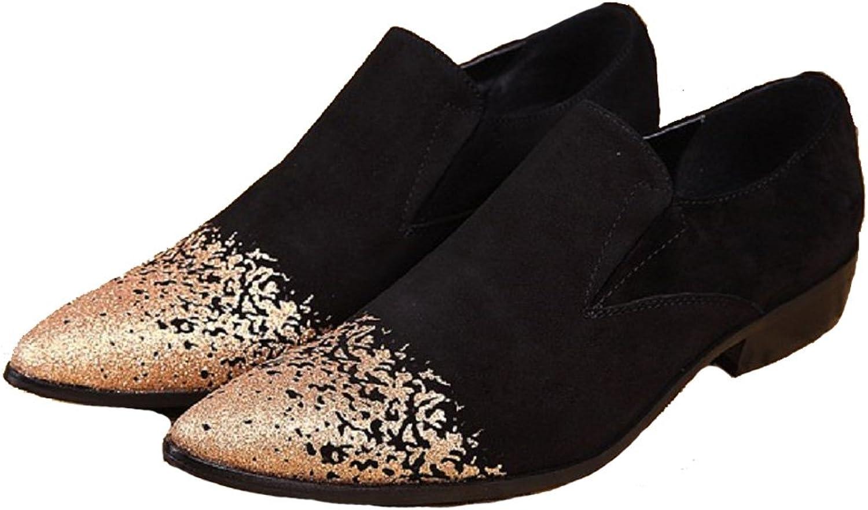 Täckning plus storlek storlek storlek 5 -12 Ny guldtå Äkta mocka läder Dress Loafers herr skor  billigt och högkvalitativt