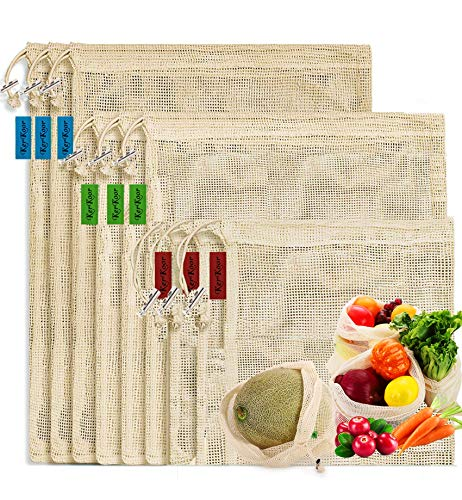 ReusableCottonMeshProduceshoppingBagsBiodegradable Washable Eco Friendly Premium See Through Lightweight Net zero Bulk Bags for Veggie Fruit Vegetable Grocery Storage  9 Packs