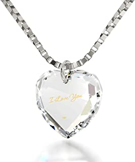 Tiny Heart Pendant Necklace 24k Gold Inscribed with I Love You on Crystal, 18