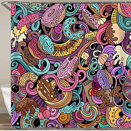 KGSPK Duschvorhang,Karikatur glasierter Donut & Schokolade,Wasserfeste Bad Vorhang aus Polyestergewebe mit 12 Haken Duschvorhang 180x180cm