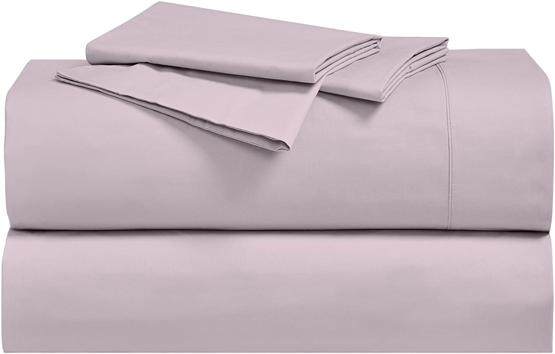 Royal's Solid purplec 250-Thread-Count 4pc King Bed Sheet Set 100-Percent Cotton, Superior Percale Weave, Crispy Soft, Deep Pocket, 100% Cotton