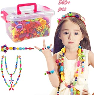 Pop Beads Set - 540+ PCS Snap Together Beads for Girls Toddlers Creative DIY Jewelry Set Toys-Making Necklace, Bracelet, Hairband and Ring - Ideal Gift Idea for Christmas & Birthday (Box Packaging)