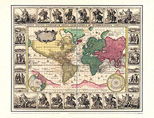 Historische WELTKARTE 1652 - Visscher (Plano 62 x 48 cm) Reihe World Map Weltkarten