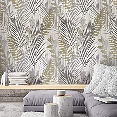 76 sq.ft roll Unique Portofino Italian Luxury wallcovering modern embossed Vinyl Wallpaper ivory gray silver gold metallic floral tropical palm leaves pattern trees textures 3D textured wall coverings