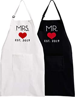 UJoowalk His and Her Aprons Black White Wedding Gifts for Couple Bridal Shower Anniversary Newlywed Gifts (2019 Heart)