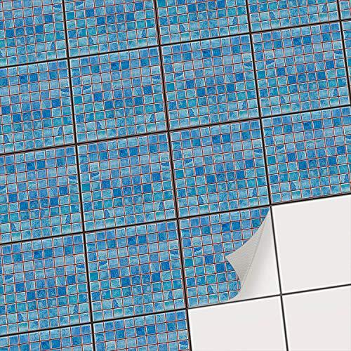 Aufkleber für Fliesen I Fliesensticker Vinyl Mosaikfliesen I Selbstklebende Dekorfolie zur Wandgestaltung von Bad u. Küchenfliesen - Fliesenmuster I 15x15 cm - Motiv Mosaik Blau - 9 Stück