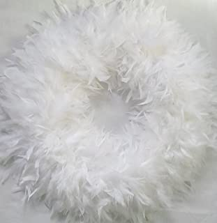 White Christmas Wreaths ~ Fluffy XL White Feather Wreaths…Gorgeous!