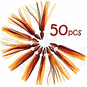 Fish WOW! 50pcs Brown Orange Squid Skirt 4-3/4 inch Hoochie Octopus Squid 12cm Fishing Trolling Soft Lure PVC Plastics Replacement Lures Easy to use