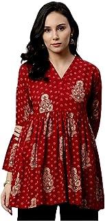 LIBAS Women Straight Front A-line Kurti | Ladies Kurta Top Blouse Shirt | Ethnic Indian Pakistani Dress | Casual Formal Tr...