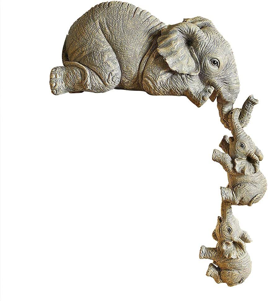 Elephant 70% OFF Outlet Sale Special Price Sitter Figurines Set of 3 Hanging and Mother Two Babies