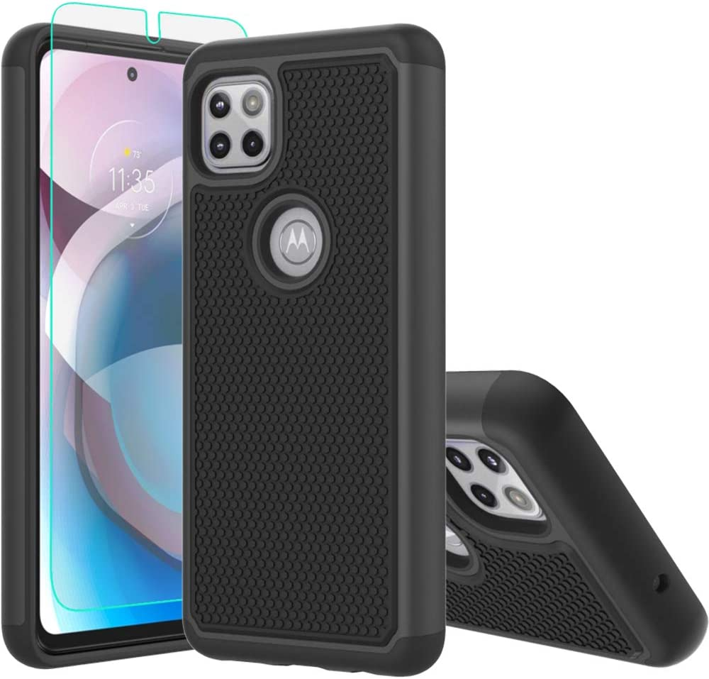 Moto One 5G Ace Case,Motorola 5G Ace Case,with HD Screen Protector [Shock Absorption] Hybrid Dual Layer TPU & Hard Back Cover Bumper Protective Case Cover for Motorola Moto One 5G Ace (Black Armor)